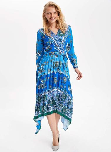 DeFacto Desenli Asmetrik Kesim Elbise Mavi